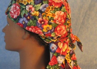 Hair Stocking in Pink Purple Yellow Flowers-left