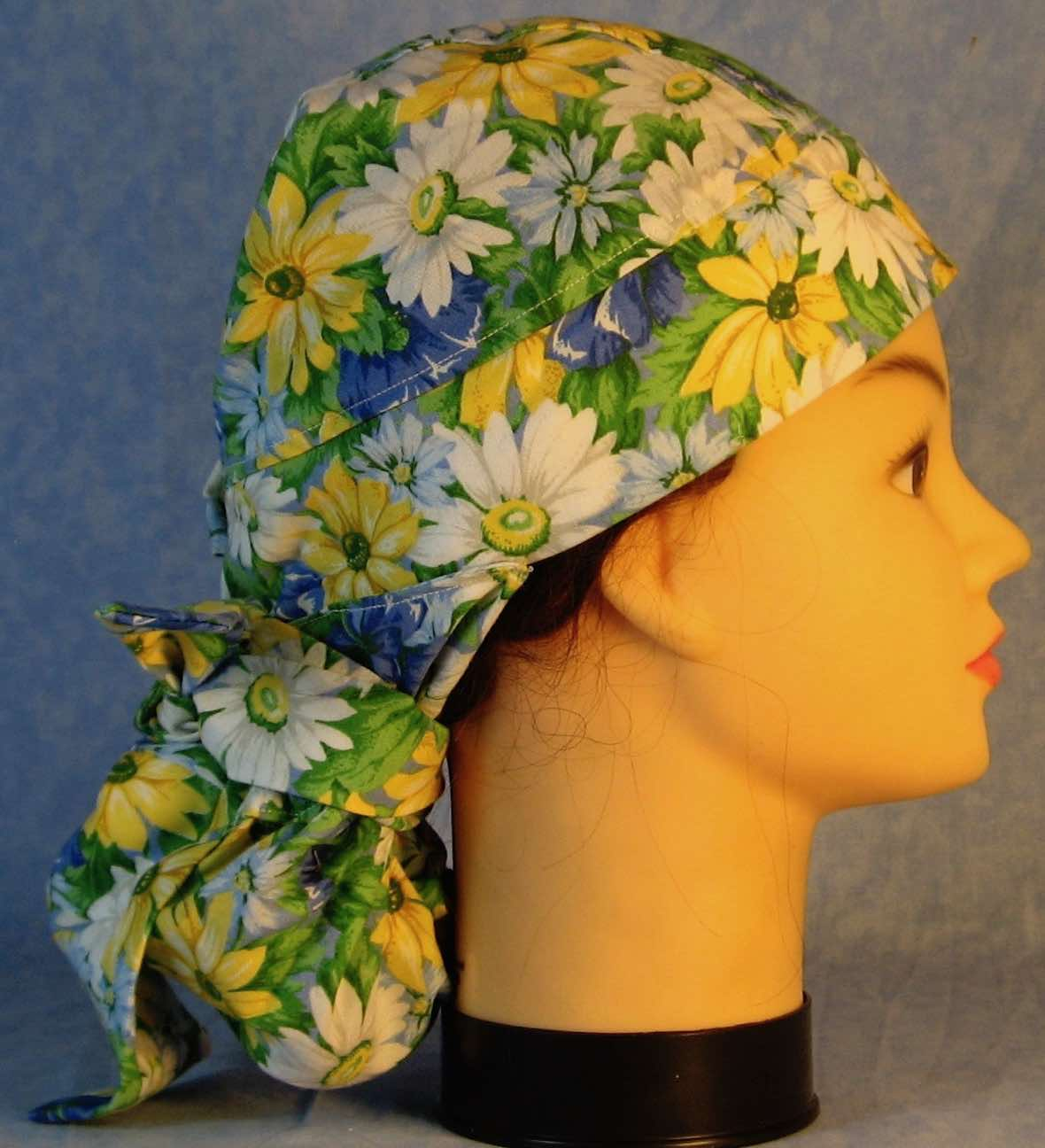 Hair Stocking Do Rag in White Blue Yellow Daisy - Adult M-XL