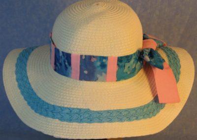 Hat Band in Aqua Pink Batik Patchwork Pink-back