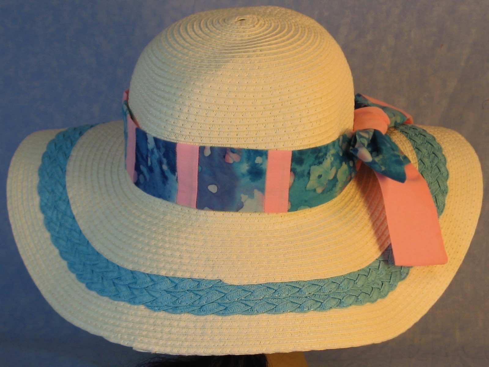 Hat Band-Aqua Pink Batik Patchwork Pink-back