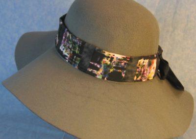 Hat Band in Black Brush on Multi-colored Patchwork Splotchy Black-left back