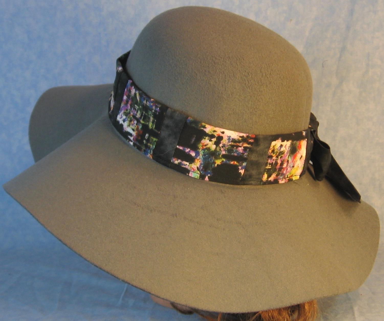 Hat Band-Black Brush on Multi-colored Patchwork Splotchy Black-left back