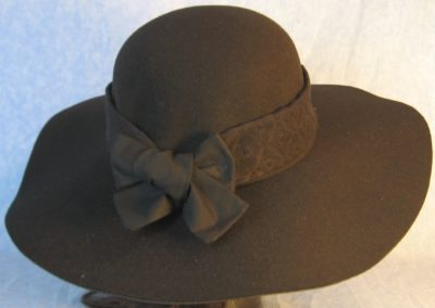 Hat Band in Black Diamond with Black Ties-back
