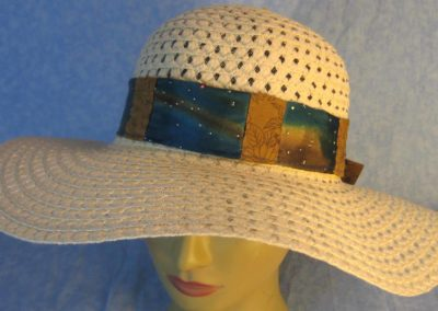 Hat Band in Blue Brown Dye Sparkles Patchwork Brown Flowers-top