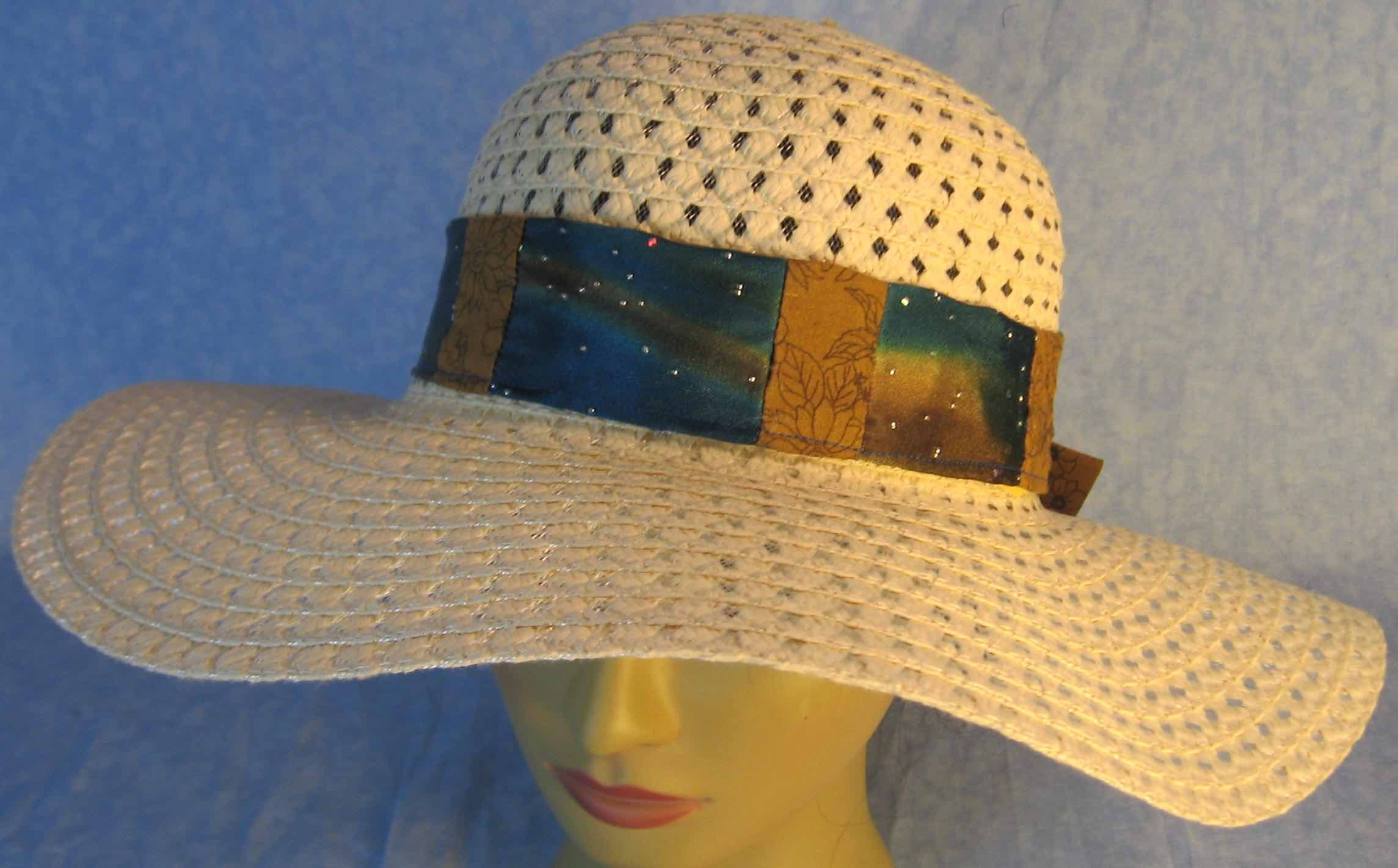 Hat Band-Blue Brown Dye Sparkles Patchwork Brown Flowers-top