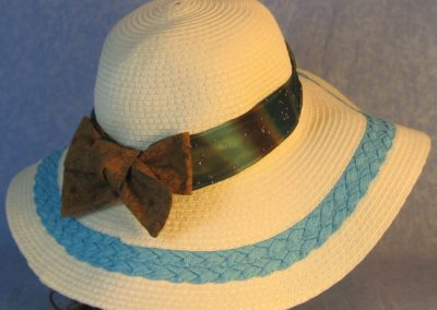 Hat Band in Blue Brown Dye Sparkles with Brown Flowers Ties-right back