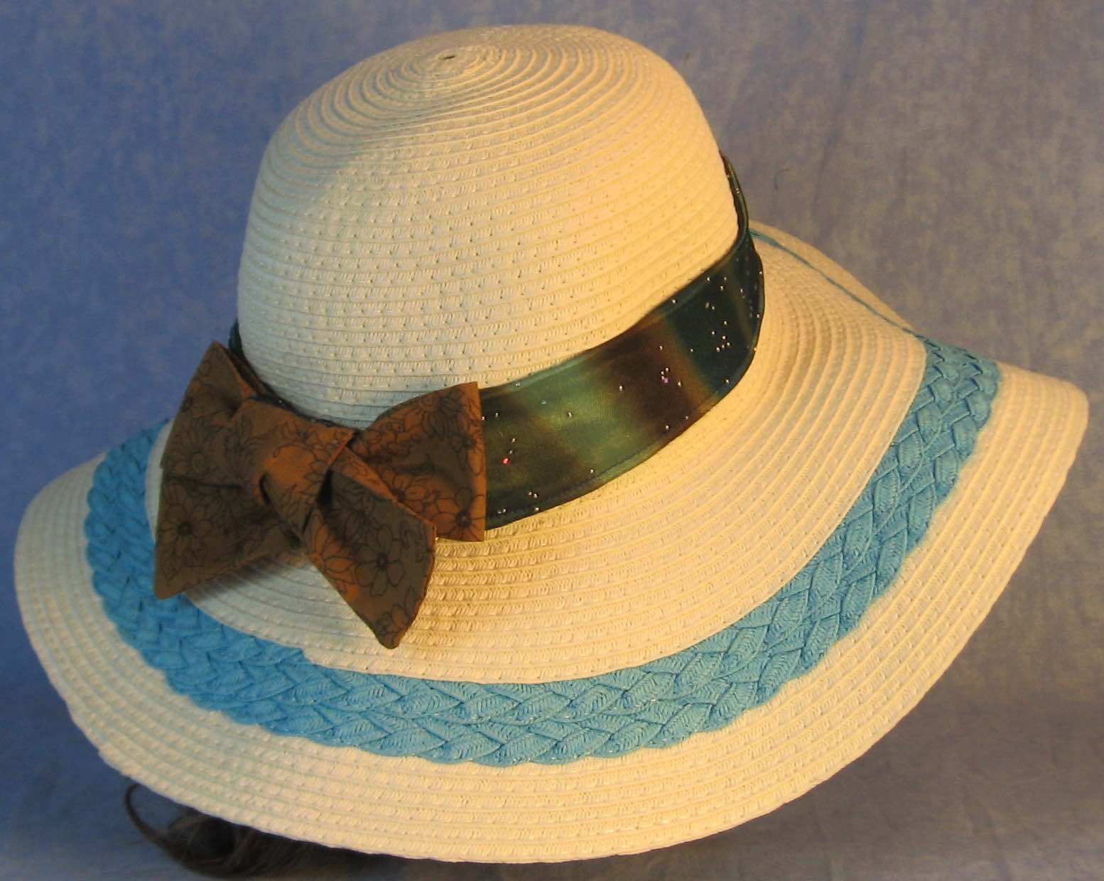 Hat Band-Blue Brown Dye Sparkles with Brown Flowers Ties-right back