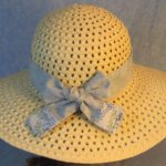 Hat Band in Blue Green Vines Patchwork Light Blue-back