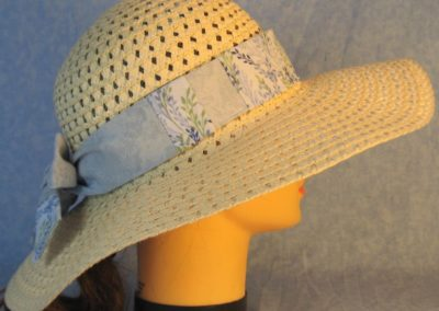 Hat Band in Blue Green Vines Patchwork Light Blue-right