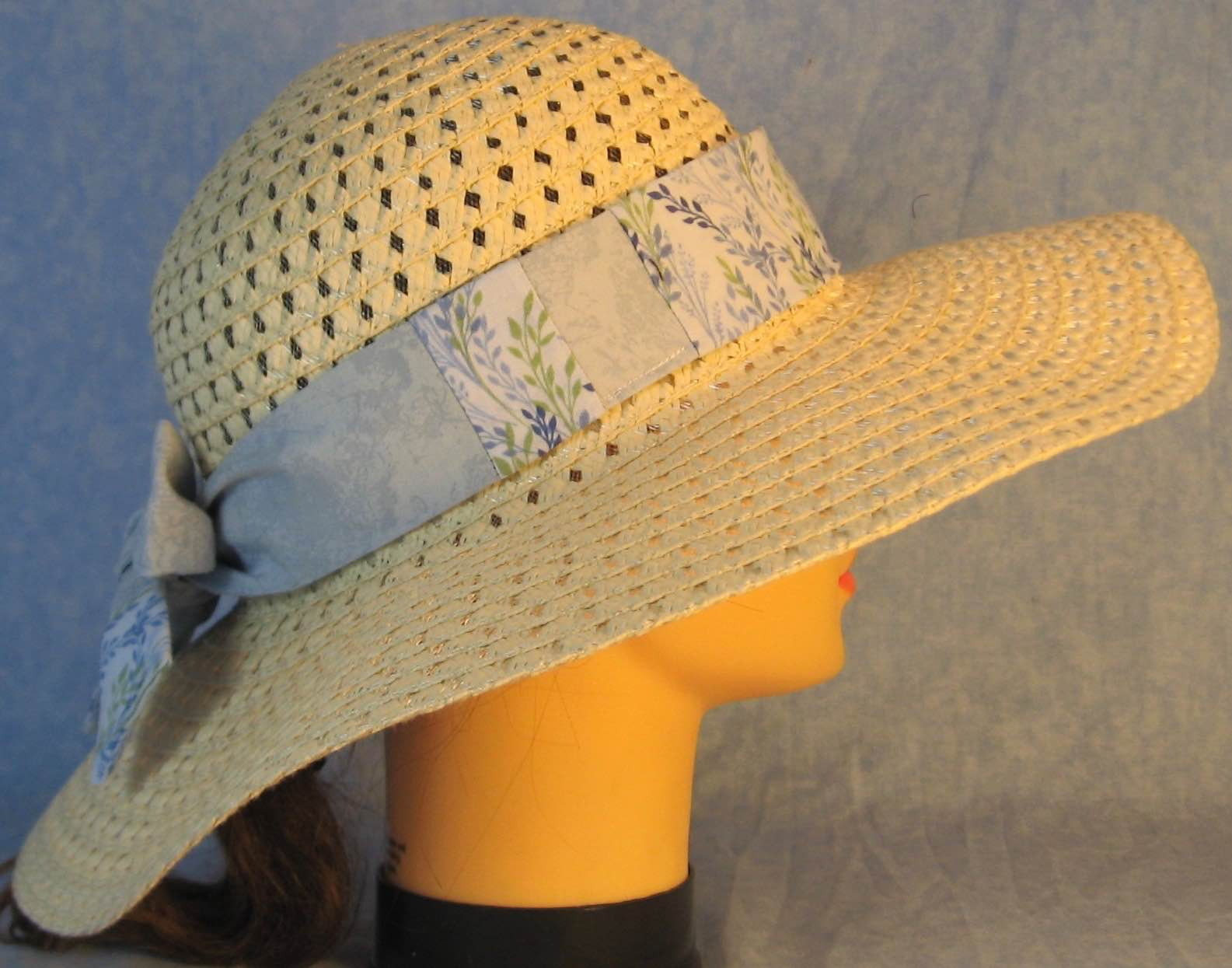 Hat Band-Blue Green Vines Patchwork Light Blue-right