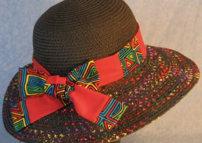 Hat Band in Blue Green Yellow Red Geometric Shapes Patchwork Red-back