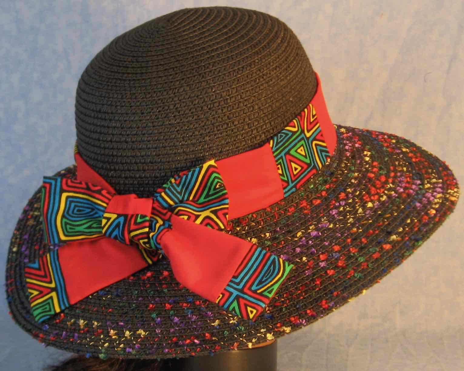 Hat Band-Blue Green Yellow Red Geometric Shapes Patchwork Red-back