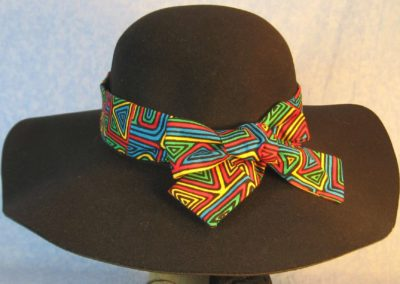 Hat Band in Blue Green Yellow Red Geometric Shapes-back