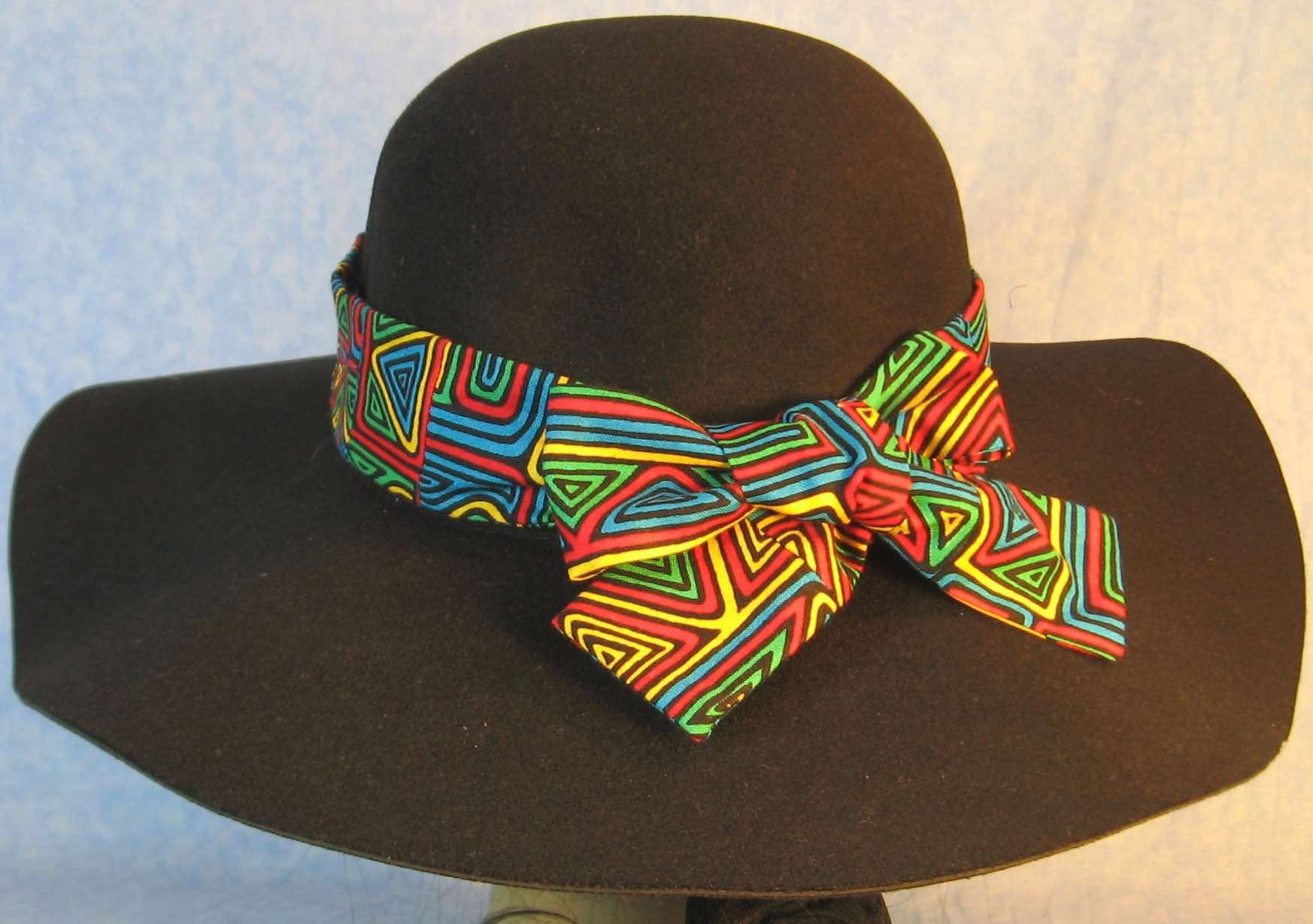 Hat Band-Blue Green Yellow Red Geometric Shapes-back
