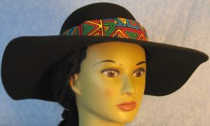 Hat Band in Blue Green Yellow Red Geometric Shapes-front