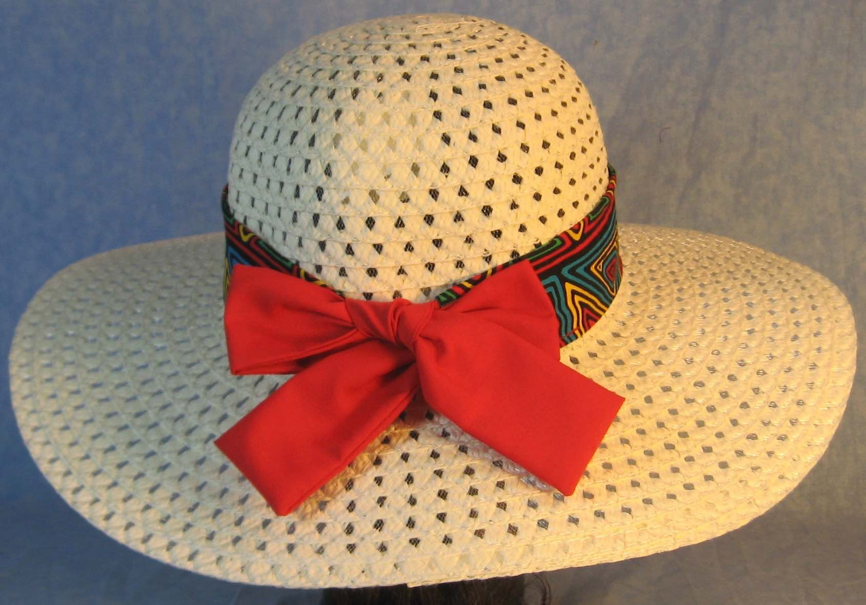 Floppy Hat Band-Blue Green Yellow Red Geometric Shapes with Red Ties