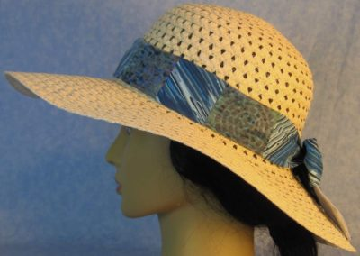 Hat Band in Blue Paint Stripes Patchwork Navy Medallion on Motley Green-left