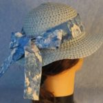 Hat Band-Blue Roses on White Patchwork Blue-right back