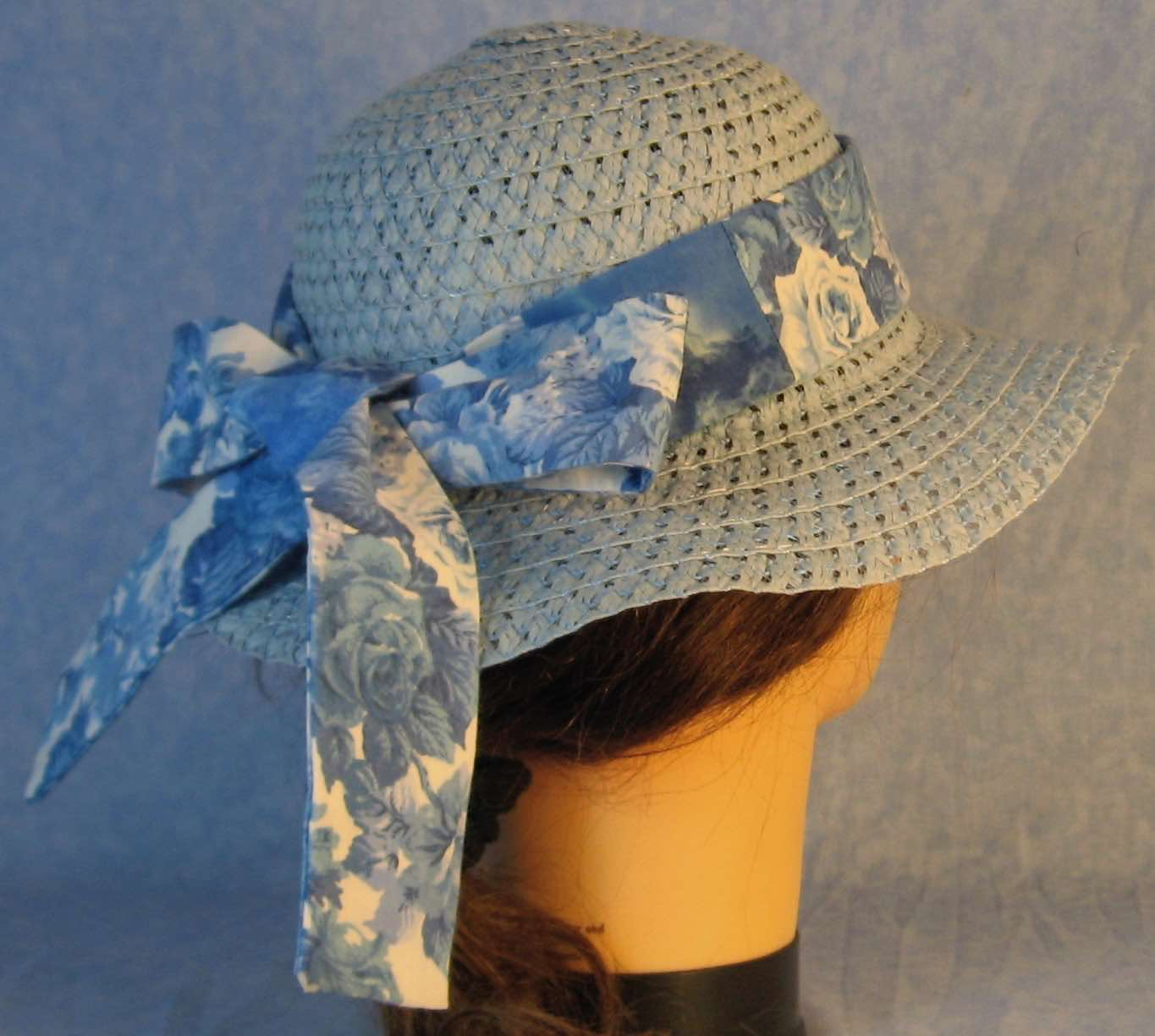 Floppy Hat Band-Blue Roses on White Patchwork Blue