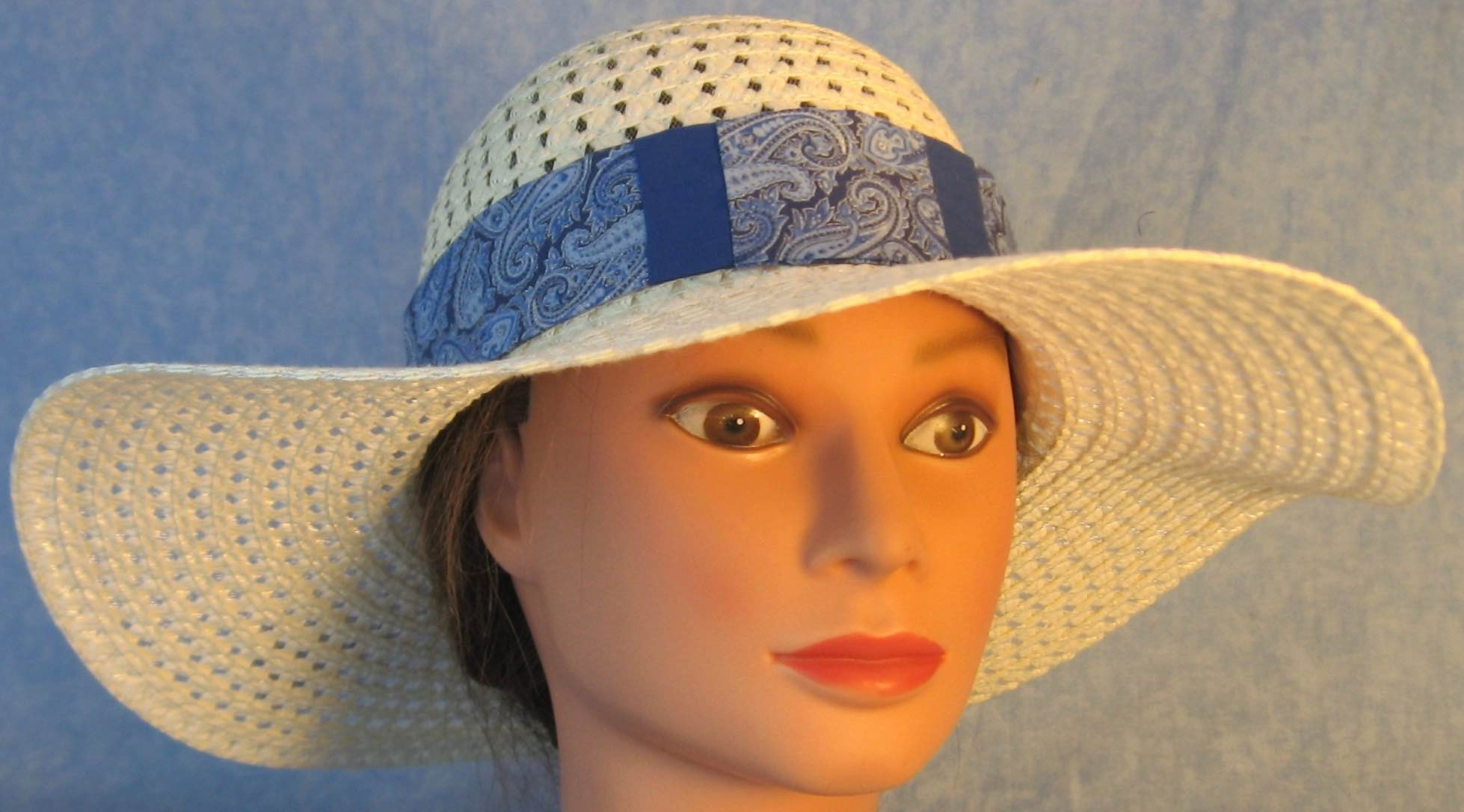 Floppy Hat-White Open Paper Braid 4