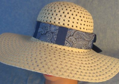 Hat Band in Blue Silver Paisley Patchwork Blue-top