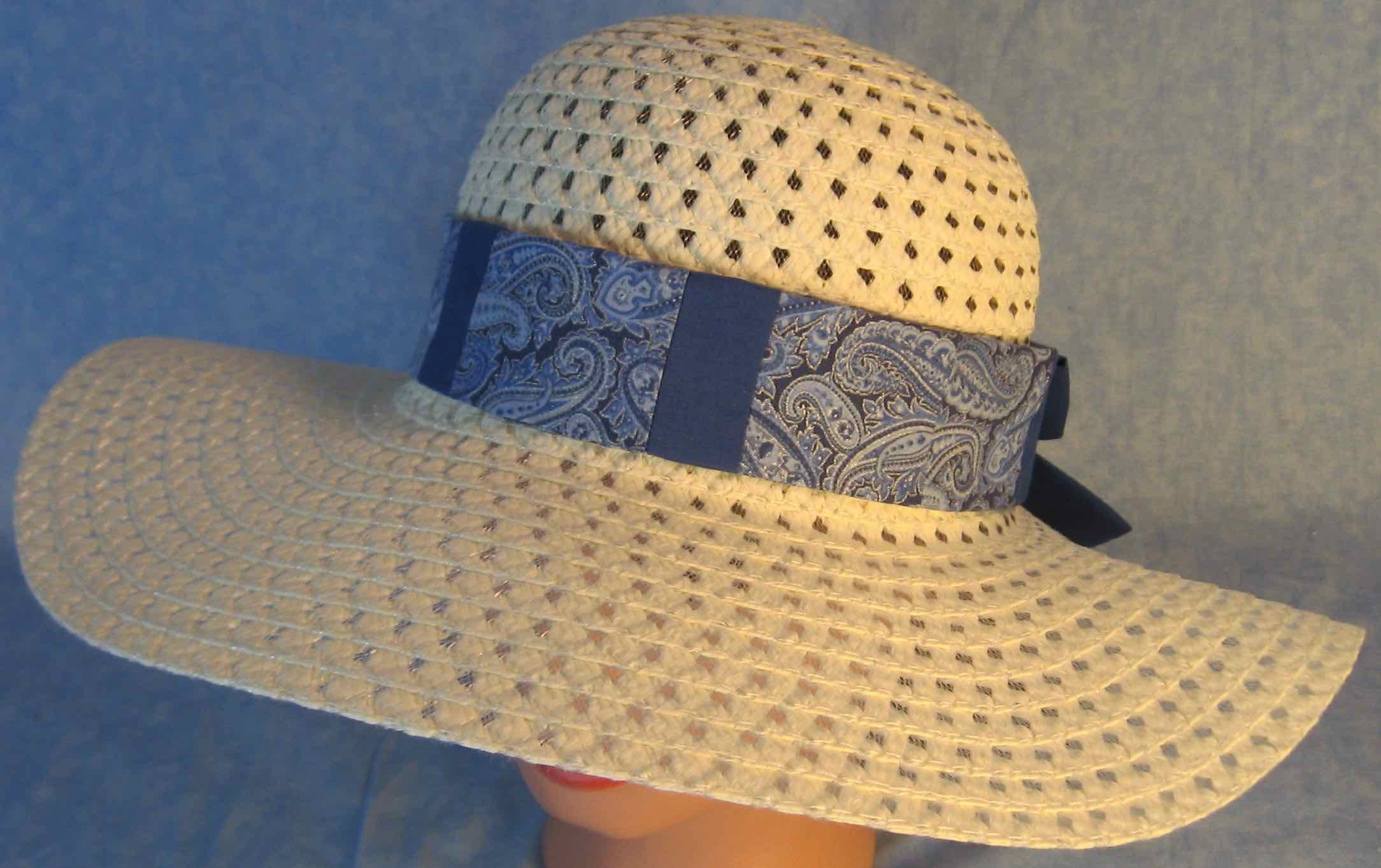 Hat Band-Blue Silver Paisley Patchwork Blue-top