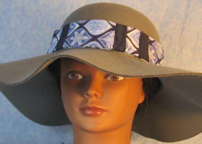 Hat Band in Blue Silver Petal Shape Patchwork Blue Moire-front