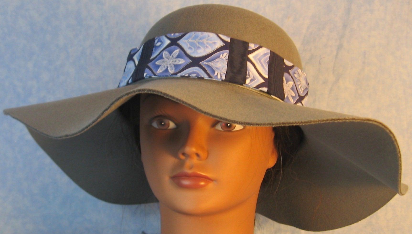 Hat Band-Blue Silver Petal Shape Patchwork Blue Moire-front