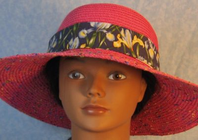 Hat Band in Blue Yellow Irises on Blue-front