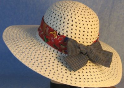 Hat Band in Cowboy Boots Hats on Red with Blue Stripe Ties-back