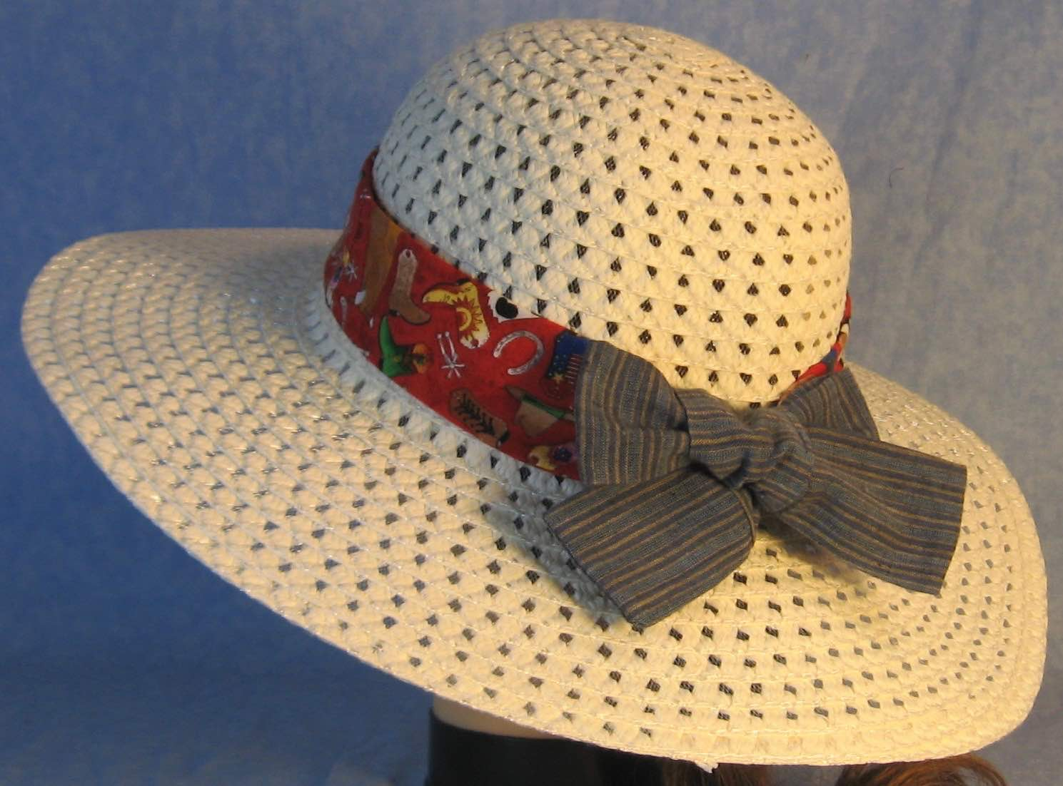 Floppy Hat Band-Cowboy Boots Hats on Red with Blue Stripe Ties