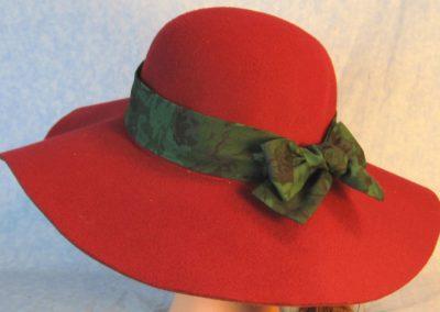 Hat Band in Dark Emerald Green Flowers-left back