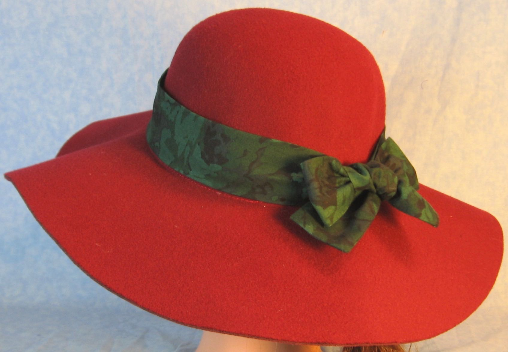 Floppy Hat Band-Dark Emerald Green Flowers
