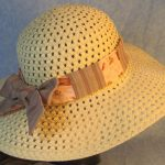Hat Band in Flowers Pots Gardening on Pink Patchwork Rose Gray Stripe-back right