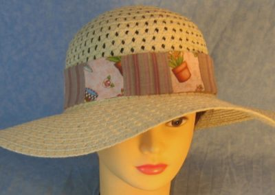 Hat Band in Flowers Pots Gardening on Pink Patchwork Rose Gray Stripe-top