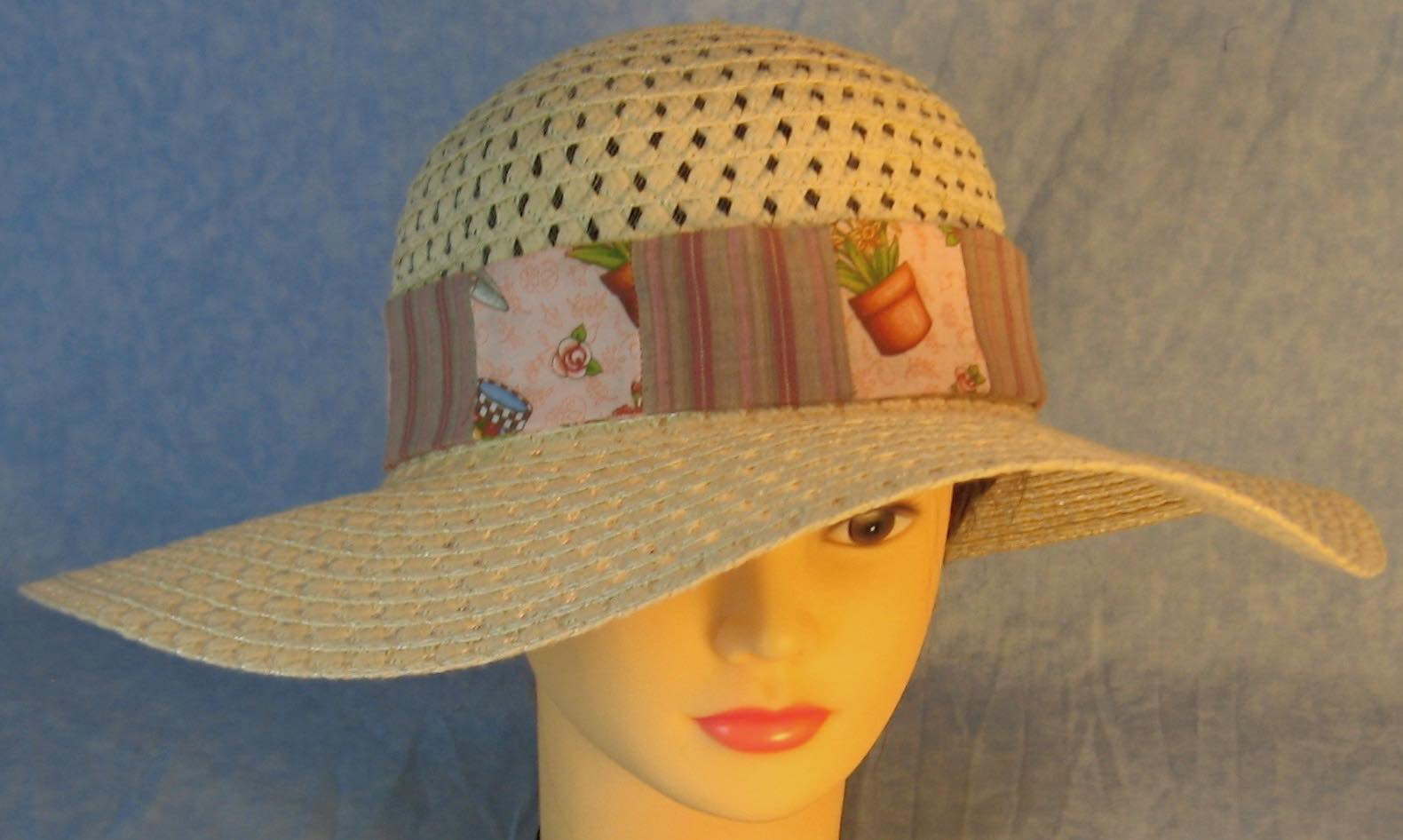 Hat Band-Flowers Pots Gardening on Pink Patchwork Rose Gray Stripe-top
