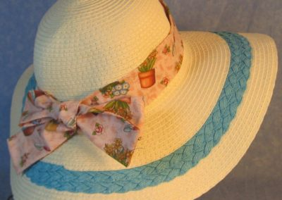 Hat Band in Flowers Pots Gardening on Pink-back