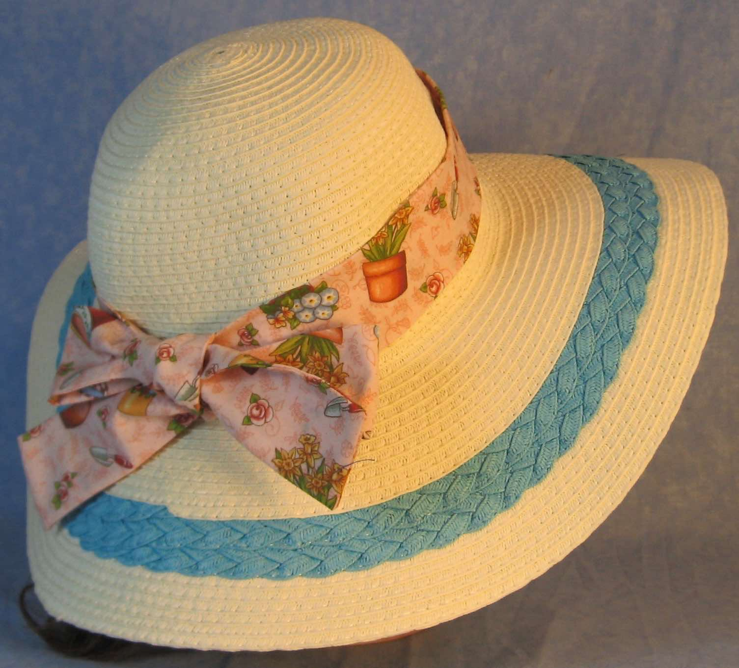 Hat Band-Flowers Pots Gardening on Pink-back