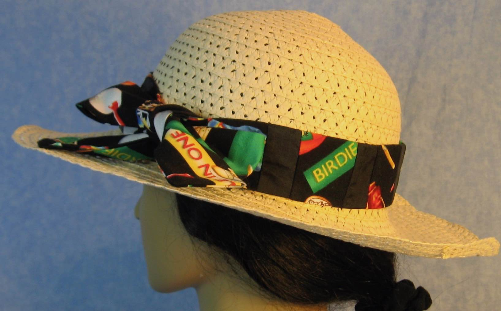 Floppy Hat Band-Golf Birdie on Black Patchwork Black