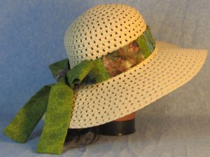 Hat Band in Green Flowers Patchwork Turquoise Green Gray Batik-right back