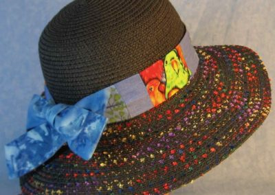 Hat Band in Green Parrots Patchwork Berries Blue-right back