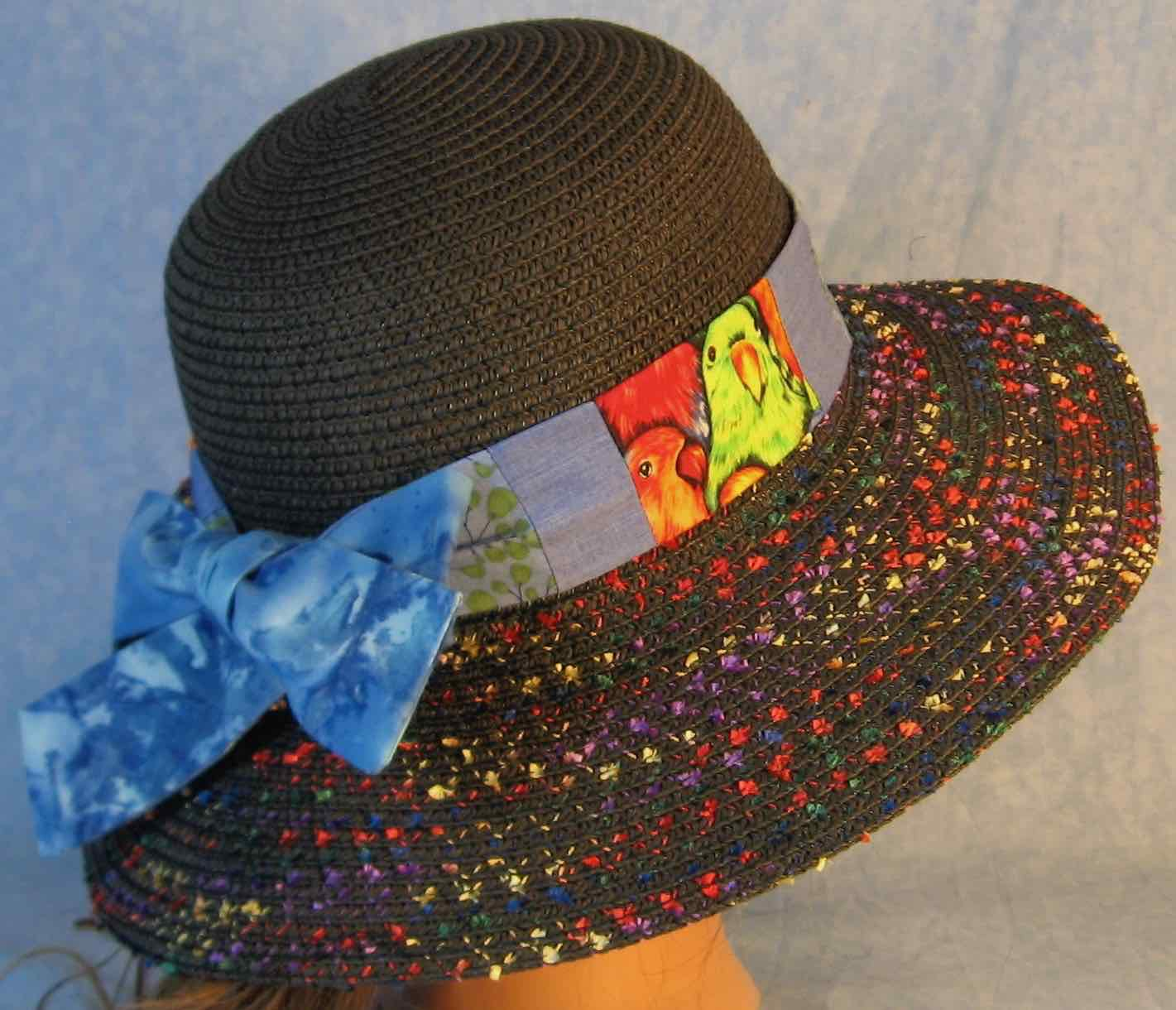 Hat Band-Green Parrots Patchwork Berries Blue-right back