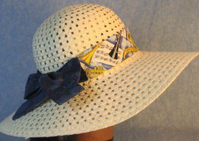 Hat Band in Music Horns Violin Yellow on Blue with Blue Ties-right back