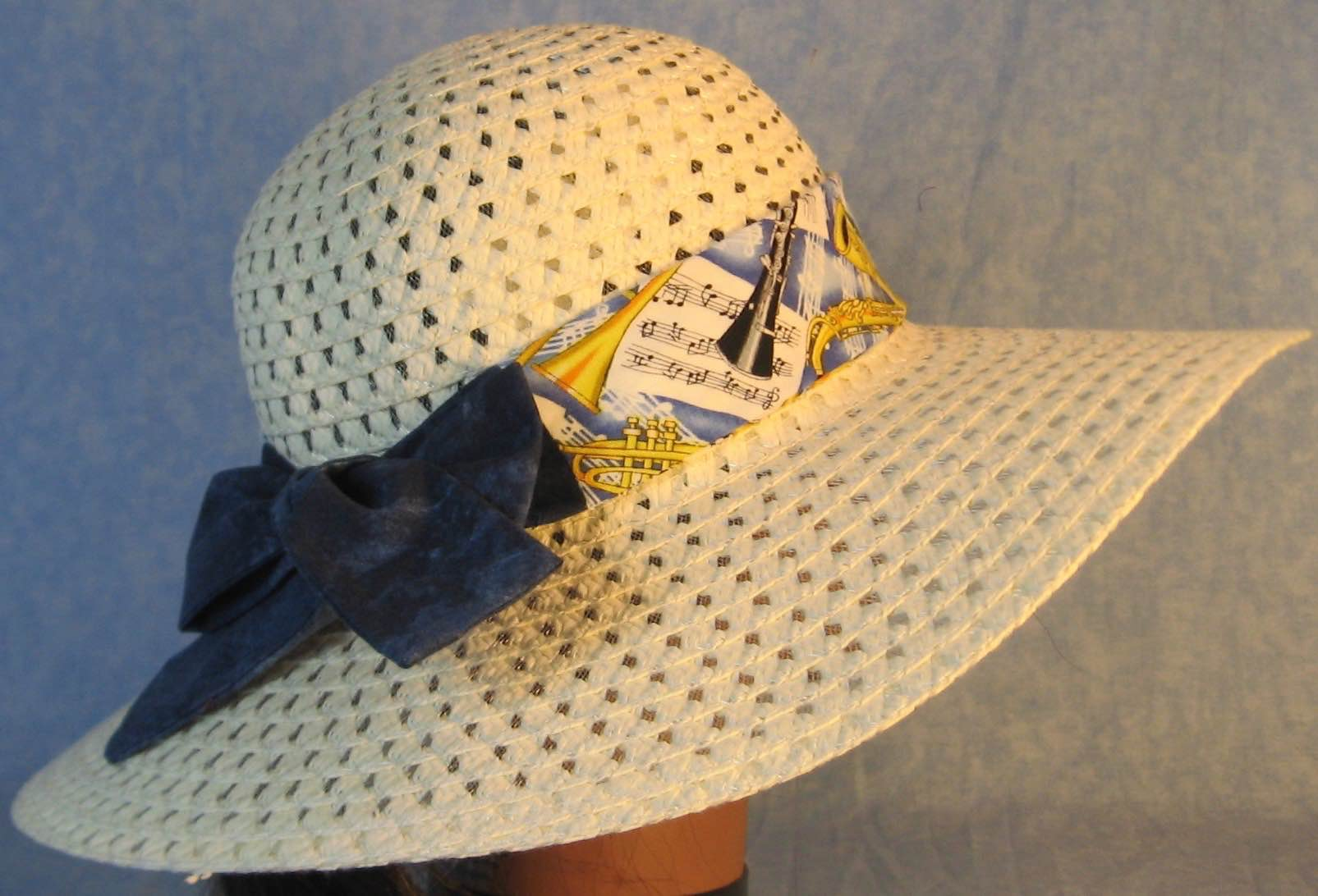 Floppy Hat Band-Music Horns Violin Yellow on Blue with Blue Ties