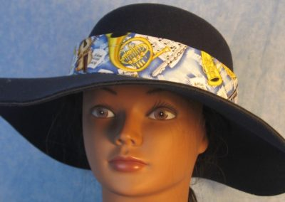 Hat Band in Music Horns Violin Yellow on Blue with Dark Blue Ties-front