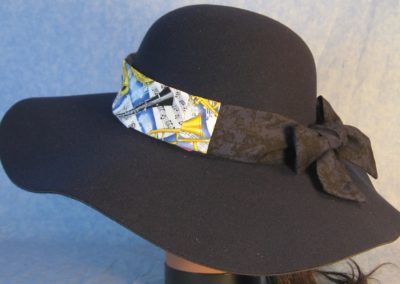 Hat Band in Music Horns Violin Yellow on Blue with Dark Blue Ties-left back