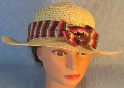 Hat Band in Pink Green Watermelon Stripe-front top