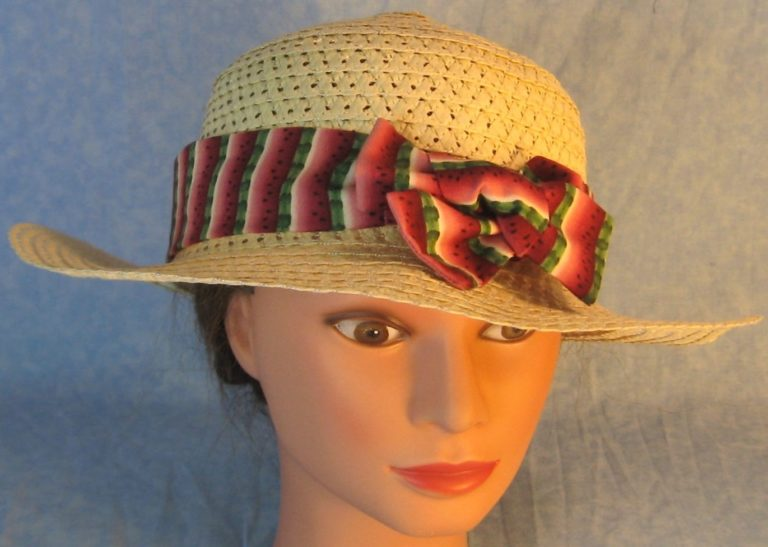 Hat Band-Pink Green Watermelon Stripe-front top