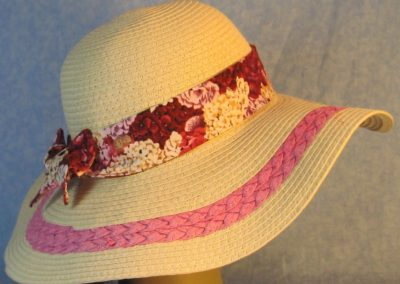 Hat Band in Pink Rose White Sweet William Flowers-right