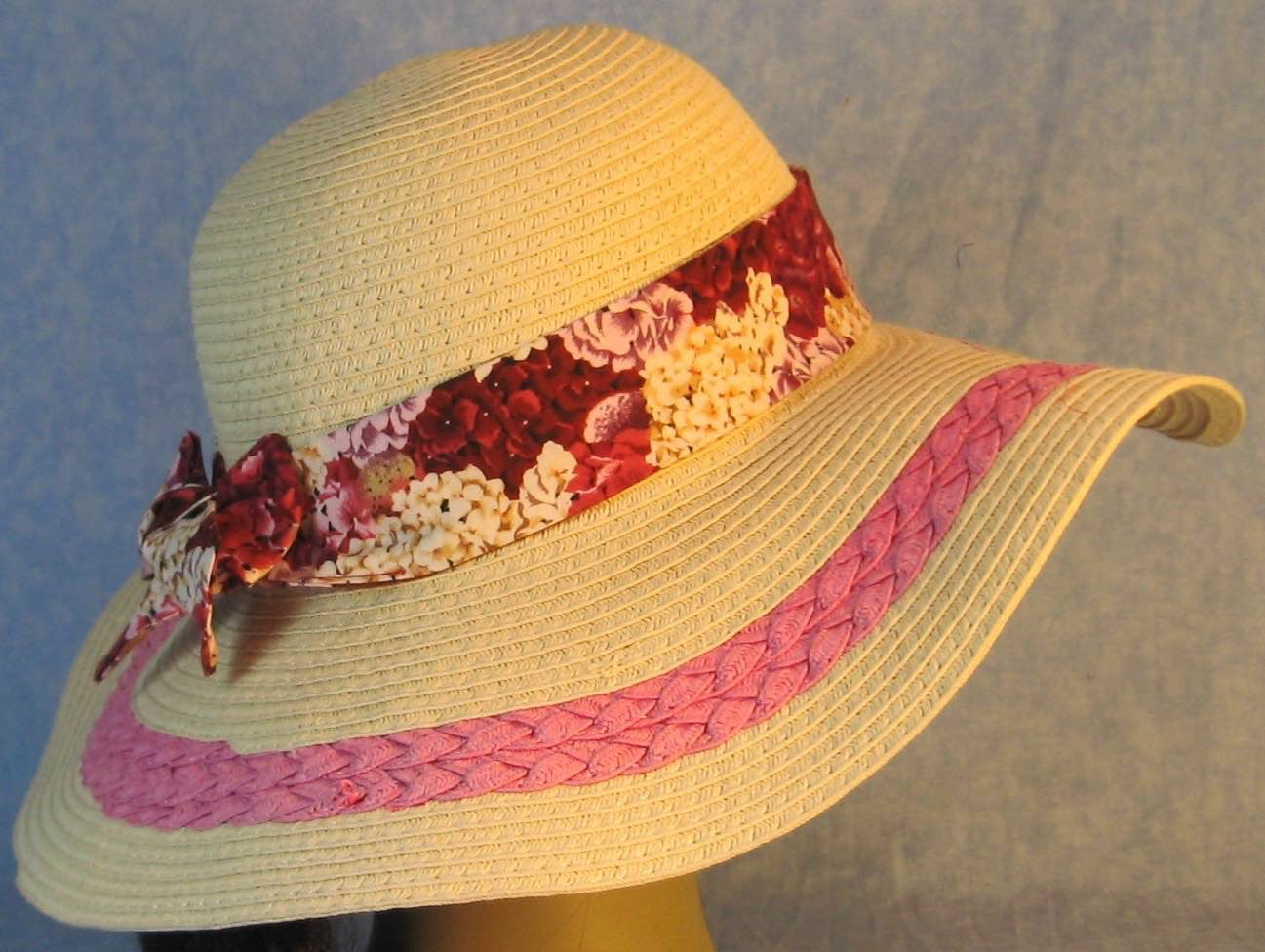 Hat Band-Pink Rose White Sweet William Flowers-right